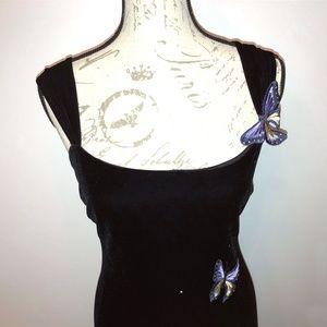 A.B.S. Black velvet dress with butterflies size S